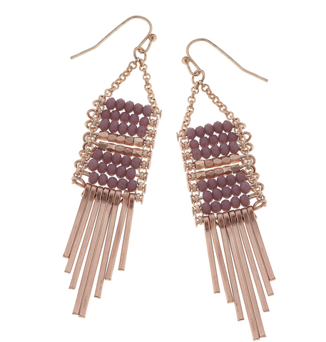 Lavender Beaded Matchstick Fringe Earrings