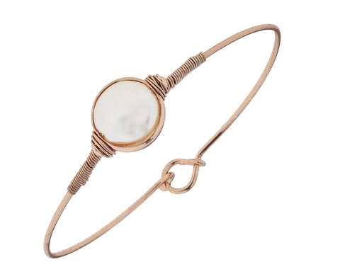 Ivory Coin Pearl Latch Bangle