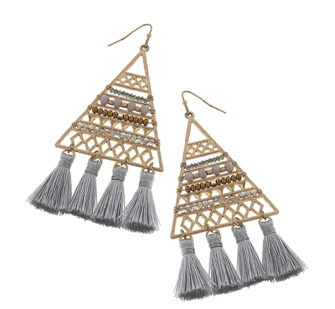 Grey Beaded Triangle Tassel Earrings
