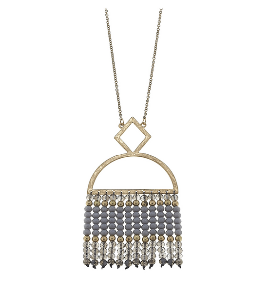 Grey Beaded Glass Fringe Necklace