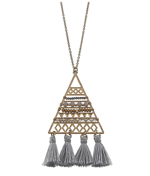 Grey Beaded Triangle Tassel Necklace