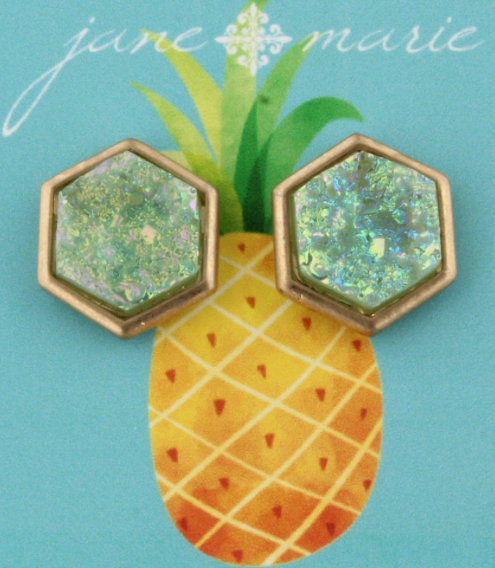 JM Girls Mint Druzy Stud Earrings