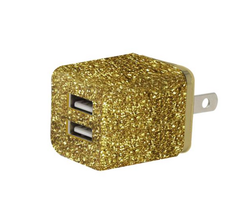 Glitter Dual USB Wall AC Adapter: Gold