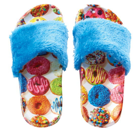 Donuts Faux Fur Slides