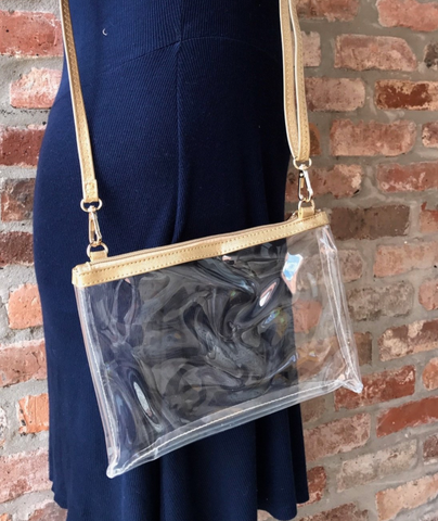 Gold Stadium Clear Crossbody Bag