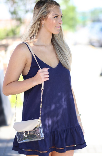 Nude Tailgate Clear Crossbody Bag