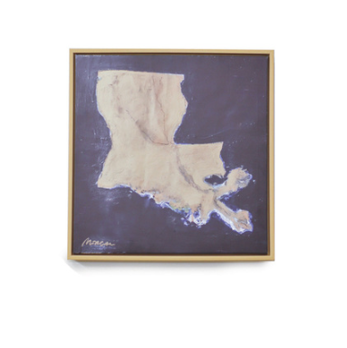 Map of Louisiana Canvas Art-Small