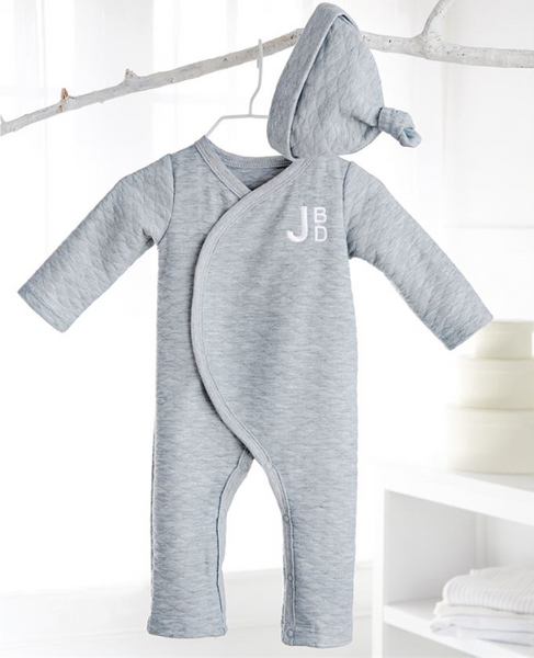 Gray Quilted Onesie & Hat
