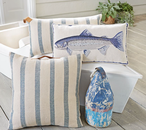 Blue Fish Tapestry Pillow