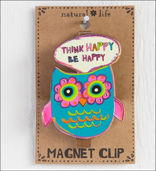 Magnet Clip Owl Think Happy