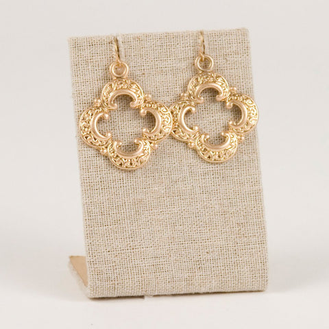 Elegant Gold Quatrefoil Earrings