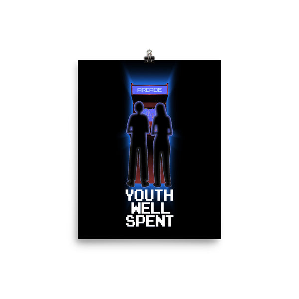 Youth Well Spent, retro 80s/90s video arcade cabinet, boy & girl Poster 8x10