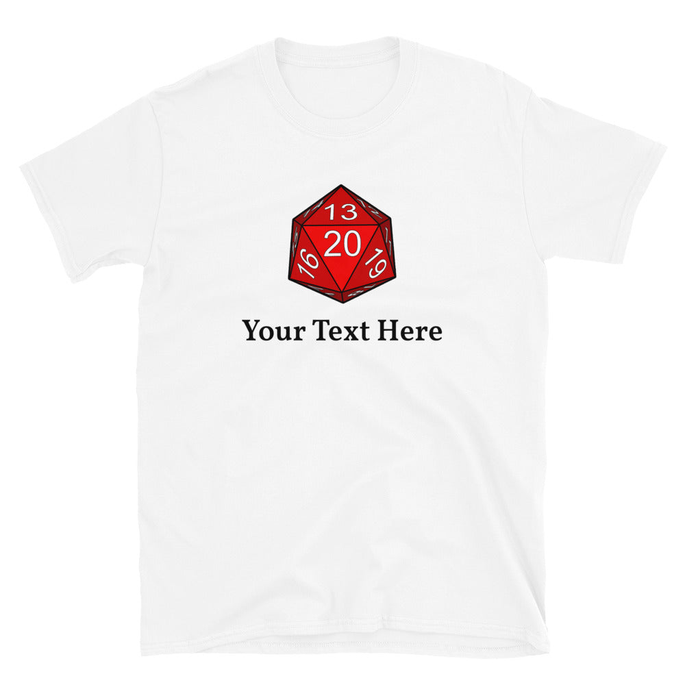 Personalized 20 sided dice, create your own D&D shirt, white and gray