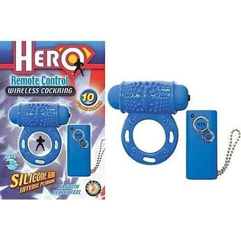 Hero Remote Control Wireless Cockring Blue,Clit Stimulators,Top Sex Store