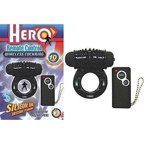Hero Remote Control Wireless Cockring Black,Clit Stimulators,Top Sex Store