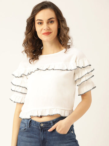 Marc-loire-women-White-Solid-Crop-Top