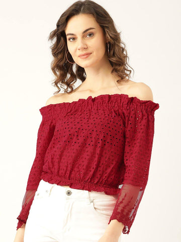 Marc-loire-women-Red-Schiffli-Embroidered-Bardot-Top