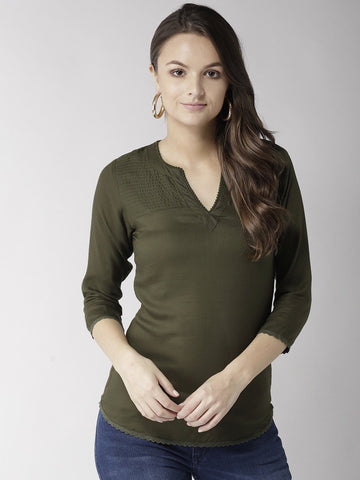 Olive Green Solid Top - Marc Loire