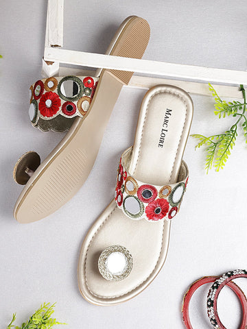 Red & Gold Open Toe Flats With Mirror Work - Marc Loire