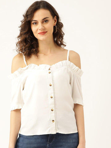 Embroidered Bardot Top - Marc Loire