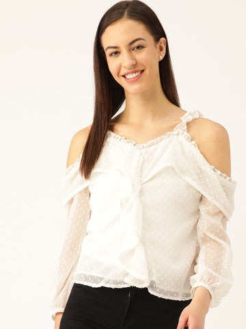 Marc-loire-women-White-Self-Design-Top