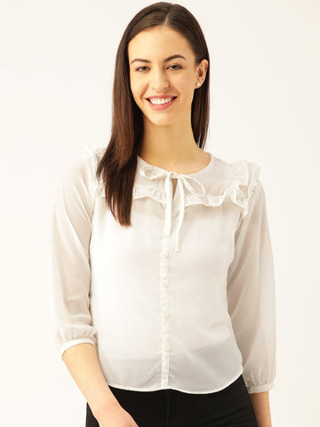 Semi-Sheer Solid Top - Marc Loire