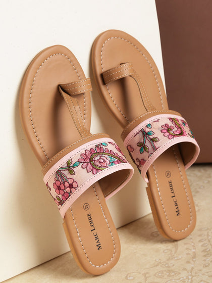 Pink-&-Beige-Embroidered-One-Toe-Flats - Marc Loire