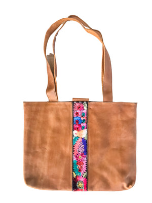 Abril Guatemalan Tan Leather Tote Bag - 10701