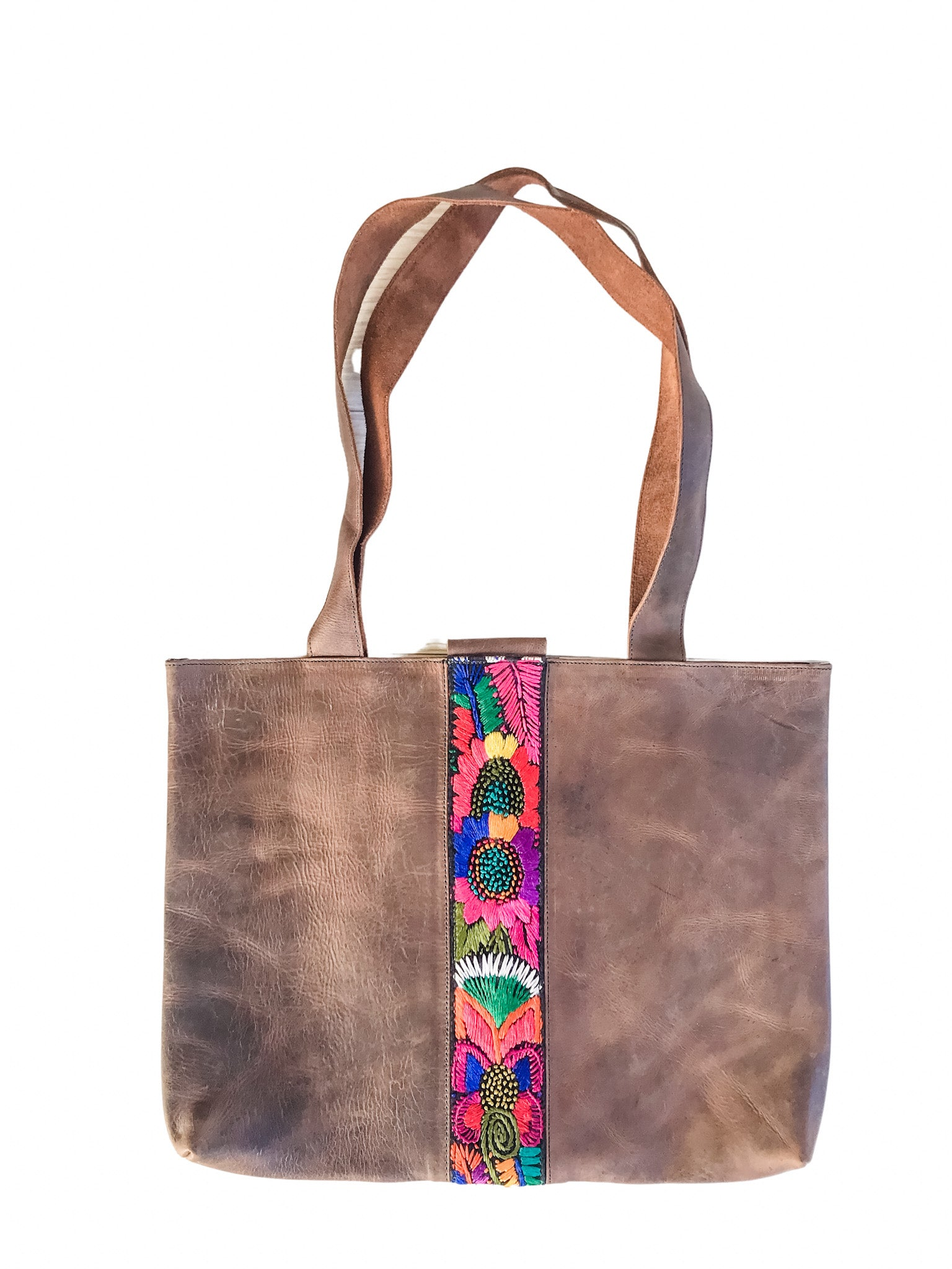 Abril Guatemalan Leather Tote Bag - 10702