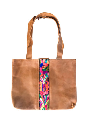 Abril Guatemalan Leather Tote Bag - 10703