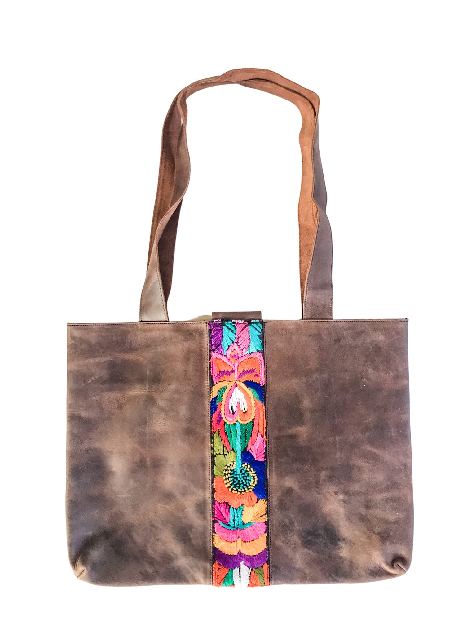 Abril Guatemalan Leather Tote Bag - 10704