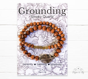 Grounding Smoky Quartz Bead Bracelet