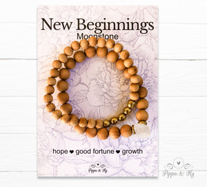 New Beginnings Moonstone Gemstone Essential Oil Diffuser Bracelet