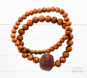 purple Amethyst in wooden beaded diffuser bracelet