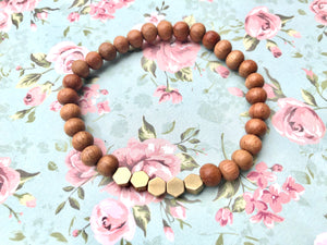 Diffuser Bracelet - Honeycomb antique gold beads, bayong wood bead