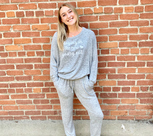 Loungewear Sweatshirt Staying In Heather Grey