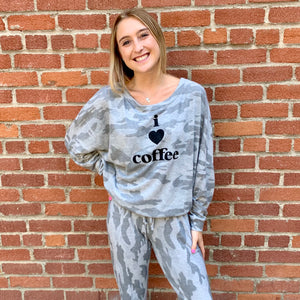 Loungewear Sweatshirt I Love Coffee Camo