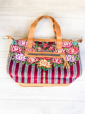 Floral Design Huipil Bag