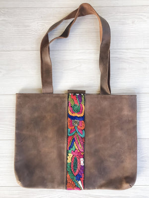 Guatemalan Leather Tote Bag with Colorful Faja Belt Detail