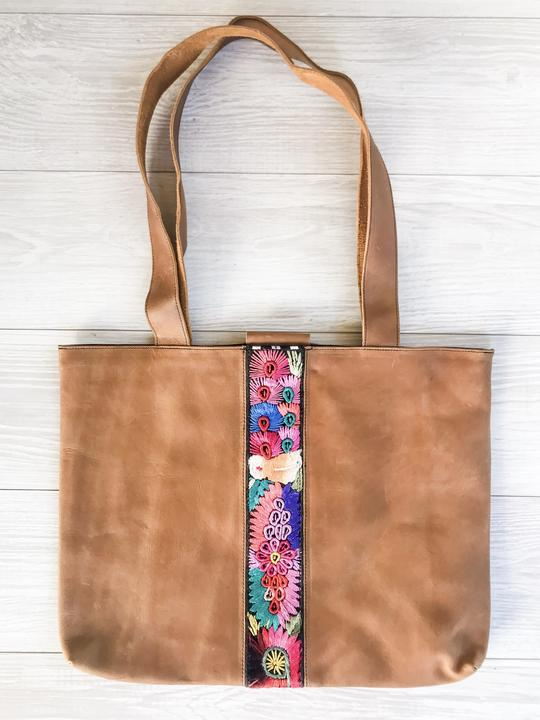 Guatemalan Tan Leather Tote Bag with Colorful Faja Belt Detail