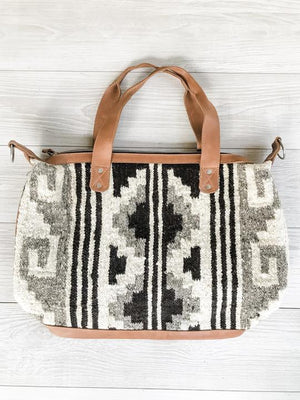 Guatemalan Convertible Wool Bag with Black, White and Gray Geometric Pattern