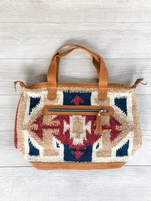 Guatemalan Wool Bag with Colors Red, Blue and Brown Geometric Pattern