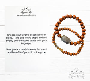 Essential Oil Diffuser Bracelet with Aquamarine Stone