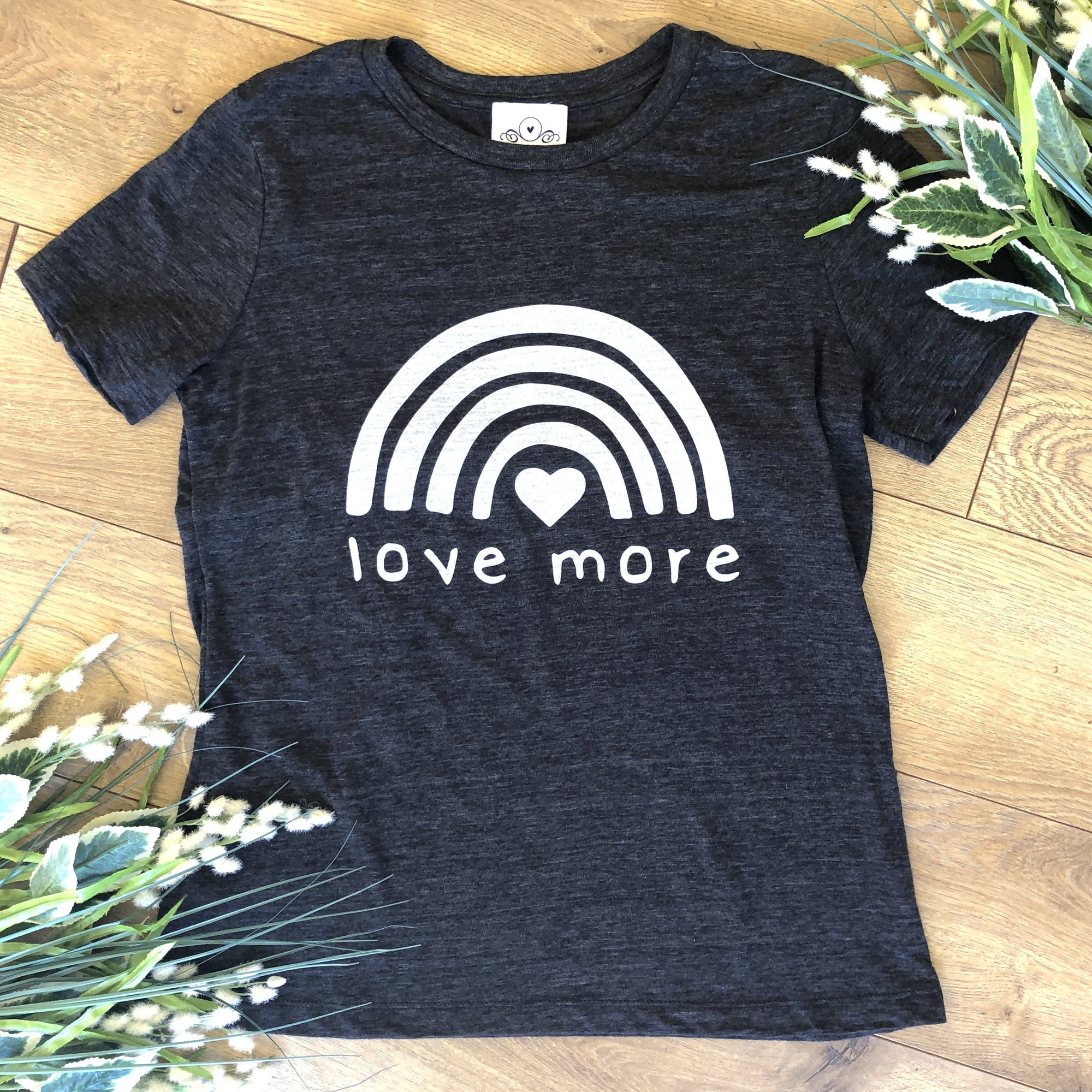 Loungewear T-Shirt Love More Charcoal Grey