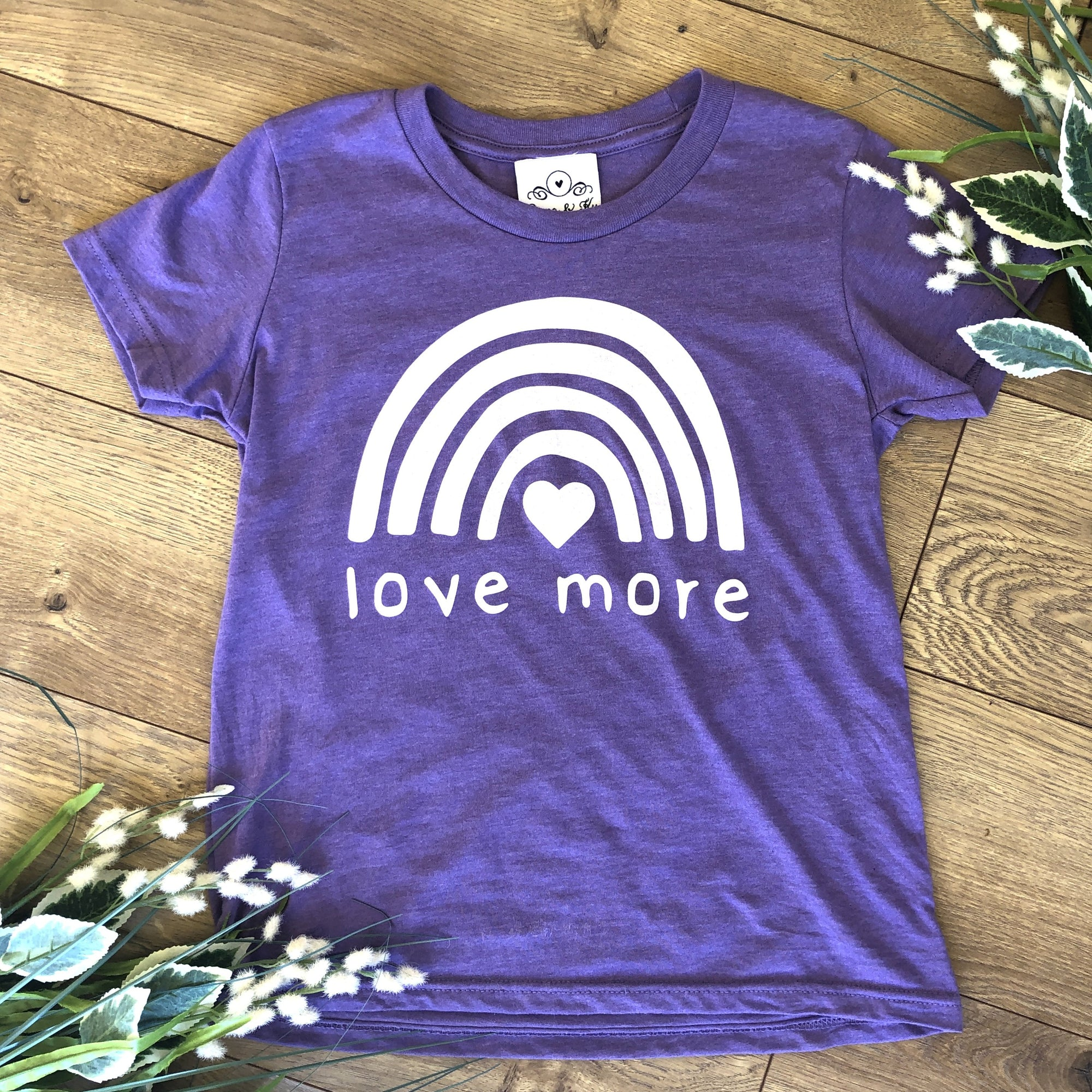 Love More Kids Purple T-Shirt - Kids T-Shirt