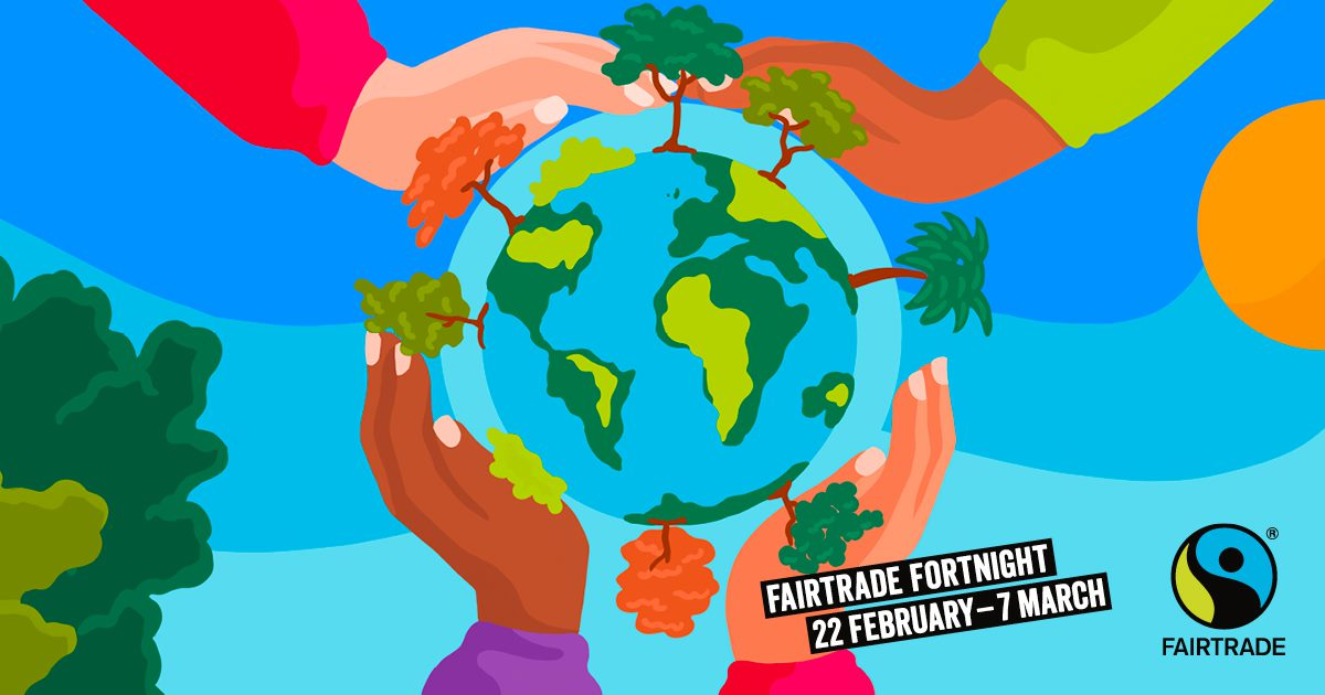 Illustration of hands surrounding earth for fairtrade fortnight
