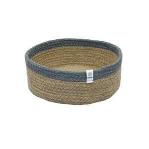 ReSpiin Shallow Seagrass and Jute Medium Basket - Natural/Grey