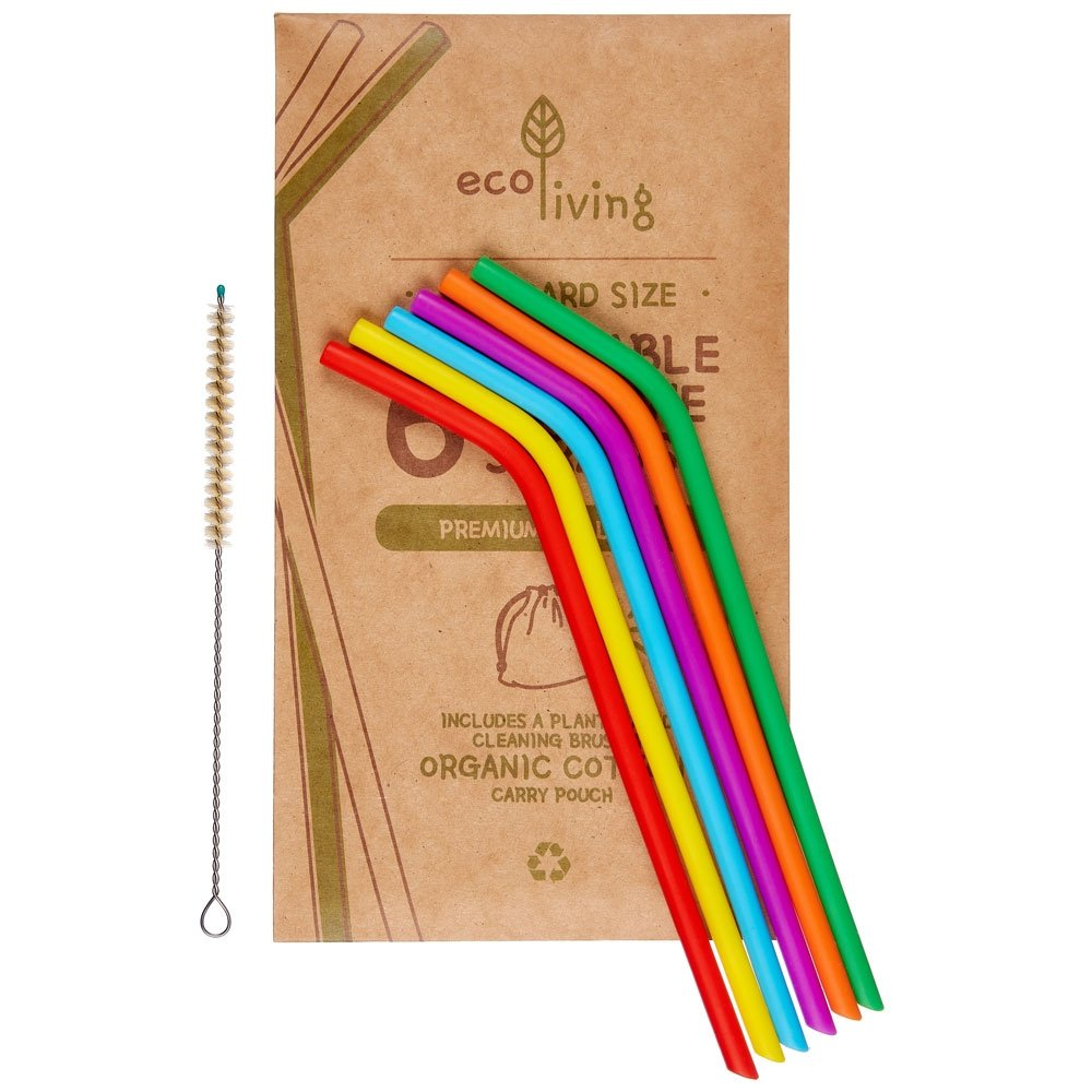 Eco Living Silicone Straws (6 pack) with brush