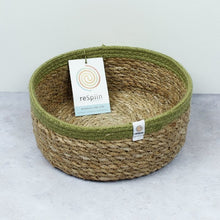 Load image into Gallery viewer, ReSpiin Shallow Seagrass & Jute Medium Basket - Natural/Green