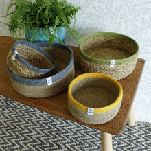 Load image into Gallery viewer, ReSpiin Shallow Seagrass & Jute Small Basket - Natural/Grey